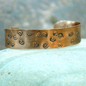 Solid Copper Hand Stamped Arthritis Cuff Bracelet